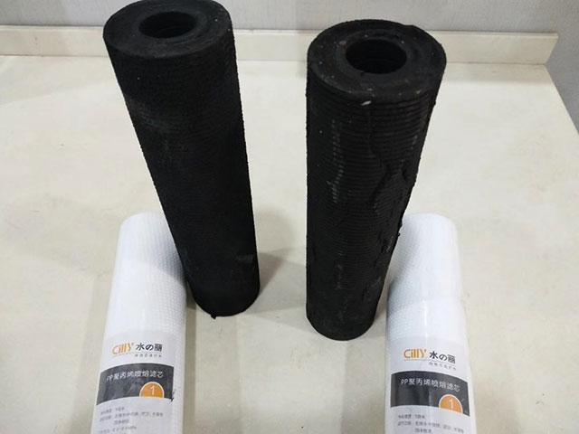 净水器滤芯使用前后对比